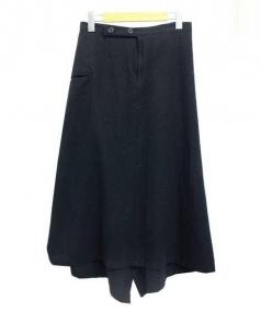 yohji yamamoto+noir(ヨウジヤマモト プリュスノアール)の古着「ウールアシンメトリースカート」|ブラック