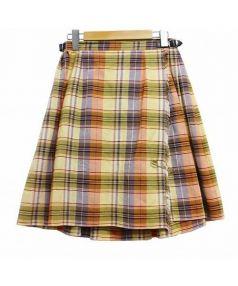 ONEIL OF DUBLIN(オニール オブ ダブリン)の古着「チェック柄ラップスカート」|ネイビー×イエロー