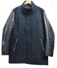 JOSEPH HOMME(ジョゼフ オム)の古着「袖シープスキンレザー切替コート」 グレー×ブラック