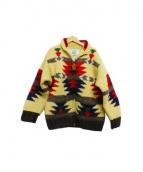 CANADIAN SWEATER(カナディアンセーター)の古着「カウチンニットカーディガン」 ベージュ×ブラウン