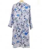 EVEX by KRIZIA(エヴェックスバイクリツィア)の古着「ボタニカルフラワーロング2WAYドレスワンピース」|パープル×ブルー