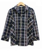 NARA CAMICIE(ナラカミーチェ)の古着「イタリアンチェックスタンドカラー7分袖シャツ」|ネイビー×パープル