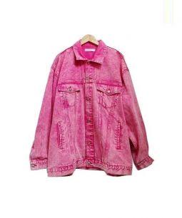 LABRAT(ラブラット)の古着「BIGカラーデニムジャケット」|ピンク