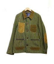 CDG JUNYA WATANABE MAN(コムデギャルソン ジュンヤワタナベ)の古着「ウールツイードグレンチェック × 綿コーデュロイジャケット」|イエロー×ブラウン