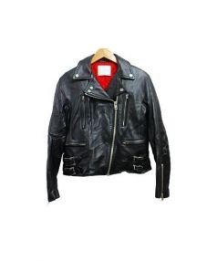 CINOH(チノ)の古着「コンパクトレザーライダースジャケット」|ブラック