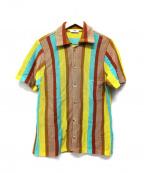 CMMN SWDN(コモン スウェーデン)の古着「マルチカラーストライプニットシャツ」|ブラウン