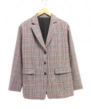 ROPE mademoiselle(ロペ マドモアゼル)の古着「RIOPELEテーラードジャケット」|レッド×ホワイト