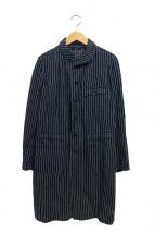 45rpm(45アールピーエム)の古着「ショールカラーストライプコート」|ネイビー