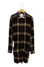 SHAREEF(シャリーフ)の古着「ロングチェックシャツコート」|ボルドー
