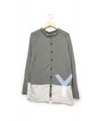 Y's(ワイズ)の古着「デザインカーディガン」|カーキ×ブルー