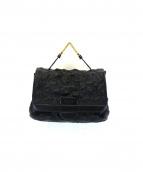 ETRO(エトロ)の古着「ペイズリーステッチレザーハンドバッグ」 ブラック