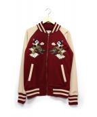 PANDIESTA JAPAN(パンディエスタ ジャパン)の古着「ジャージー刺繍スカジャン」 ベージュ×レッド