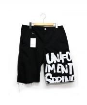 uniform experiment(ユニフォーム エクスペリメント)の古着「DAMAGED GRAFFITI CUT OFF SHORT」|ブラック