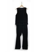CHILLEA(キリア)の古着「ストレッチダブルクロスオールインワン」|ブラック