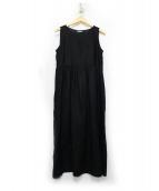 LE GLAZIK(ル グラジック)の古着「ノースリーブリネンワンピース」|ブラック