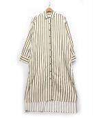 PHEENY(フィーニー)の古着「コットンストライプロングシャツ」 アイボリー×ブラウン