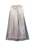 Ameri VINTAGE(アメリビンテージ)の古着「シースルーワイドパンツ」 ブラック×ピンク