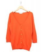 JOHN SMEDLEY(ジョンスメドレ)の古着「Vネックカーディガン」|オレンジ