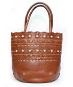 genten(ゲンテン)の古着「カットワークレザートートバッグ」|ブラウン