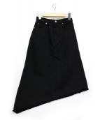 HYKE(ハイク)の古着「アシメントリーカットオフデニムスカート」|ブラック