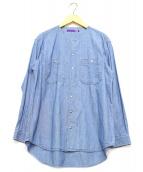 THE NORTHFACE PURPLELABEL(ザノースフェイスパープルレーベル)の古着「CottonChambray CrewNeckShirt」 ブルー