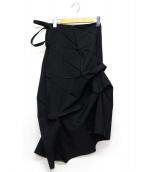ISSEY MIYAKE(イッセイミヤケ)の古着「折り紙ワンショルダーワンピース」|ブラック