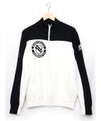 PEARLY GATES(パーリーゲイツ)の古着「ニットジップジャケット」|ブラック×ホワイト