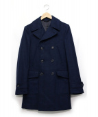 L.B.M.1911(エルビーエム1911)の古着「Pコート調ヘリンボーン柄コート」|ブルー