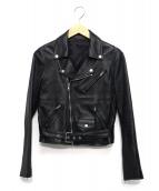 LITHIUM FEMME(リチウムファム)の古着「ラムレザーライダースジャケット」|ブラック