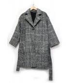 Mila Owen(ミラオーウェン)の古着「抜け感チェック柄ガウンコート」|グレー