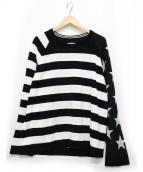 TAKAHIROMIYASHITA TheSoloIst.(タカヒロミヤシタザソロイスト)の古着「Star&Stripes Sweater」|ブラック×ホワイト