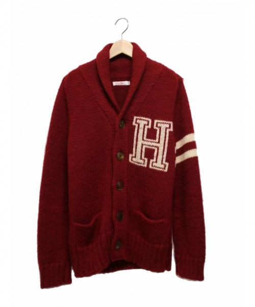 H.R.MARKET(ハリウッドランチマーケッド)H.R.MARKET (ハリウッドランチマーケッド) ショールカラーカーディガン レッド サイズ:Mの古着・服飾アイテム