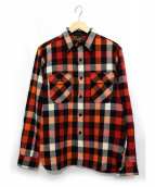 AT LAST(アットラスト)の古着「チェックネルシャツ」|レッド×オレンジ