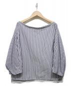 TICCA(ティッカ)の古着「コットンボートネックシャツプルオーバー」|ホワイト×ネイビー