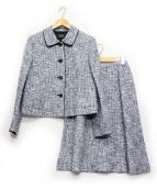 LEILIAN(レリアン)の古着「セットアップスカートスーツ」|ホワイト×ブルー