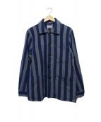 GAIJIN MADE(ガイジンメイド)の古着「ストライプカバーオール」|ネイビー×ブルー