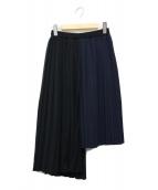 ASTRAET(アストラット)の古着「アシメントリープリーツスカート」|ブラック×ネイビー