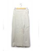ELIN(エリン)の古着「ツイルスリットロングスカート」|ベージュ