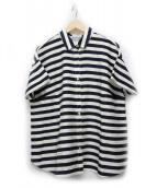 MACKINTOSH(マッキントッシュ)の古着「キュプラコットンボーダーシャツ」|ホワイト×ネイビー