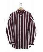 THE SHIRT upper hights(ザシャツアッパーハイツ)の古着「リボン付ストライプシャツ」 ボルドー×ホワイト