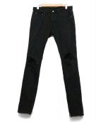 MNML(ミニマル)の古着「サイドジップクラッシュスキニーデニム」|ブラック