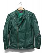 ROTAR(ロータ)の古着「レザーライダースジャケット」 グリーン