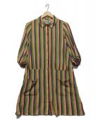 Jocomomola(ホコモモラ)の古着「ストライプワンピース」 マルチカラー
