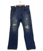 BRU NA BOINNE(ブルーナボイン)の古着「ダメーシ加工セルビッチデニムパンツ」|インディゴ
