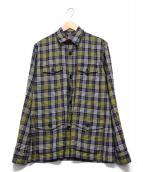 ETHOS(エトス)の古着「チェックシャツ」|イエロー×ネイビー