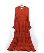 Ameri VINTAGE(アメリビンテージ)の古着「シャーリングプリーツドレス」 オレンジ