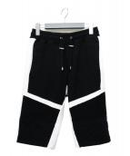 BALMAIN(バルマン)の古着「バイカラー蛇腹バイカースウェットハーフパンツ」|ホワイト×ブラック