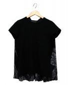 sacai(サカイ)の古着「バックプリーツペイズリーフドッキングカットソー」|ブラック×ホワイト