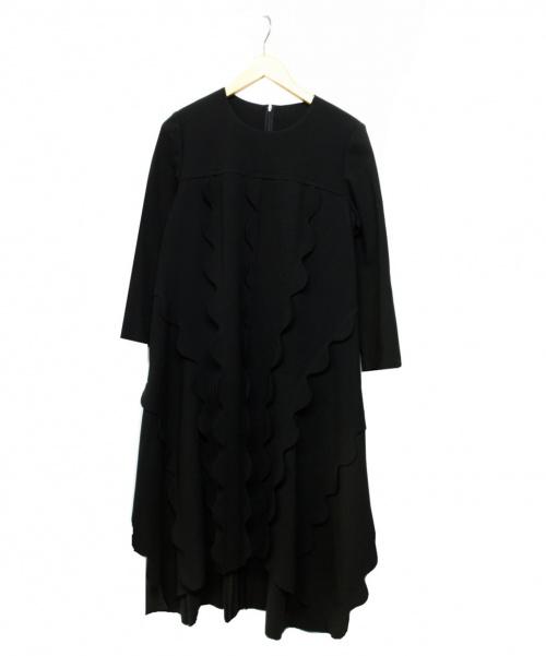 HIROKO KOSHINO(ヒロコ コシノ)HIROKO KOSHINO (ヒロココシノ) デザインワンピース ブラック サイズ:40の古着・服飾アイテム