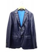 COMME CA MEN(コムサメン)の古着「ボンディングラムレザージャケット」|ネイビー